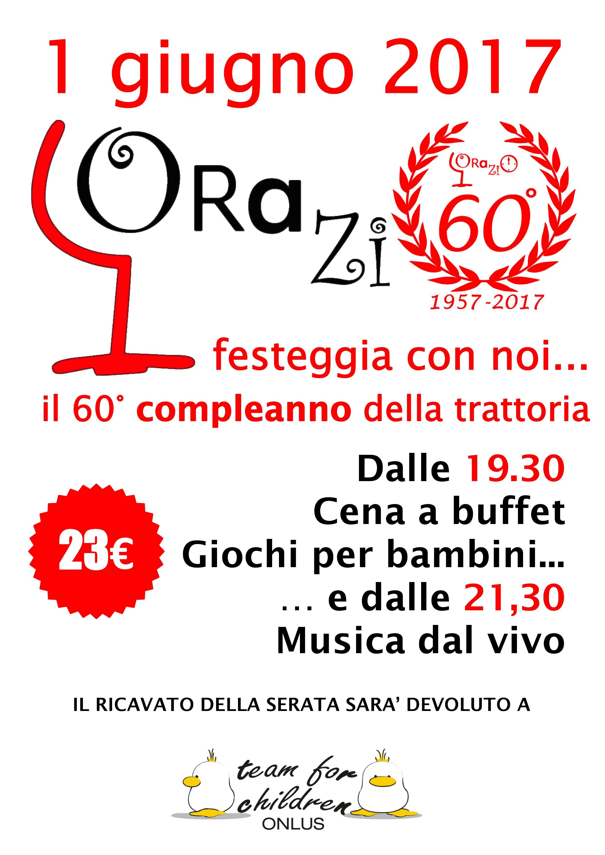 TRATTORIA ORAZIO: 60° ANNIVERSARIO A SOSTEGNO DI TEAM FOR CHILDREN